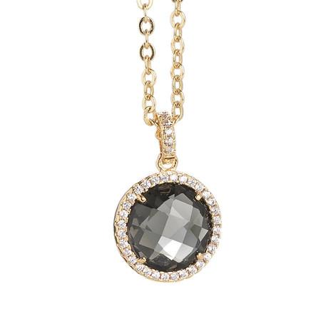 Collana con cristallo smoky quartz e zirconi pendente