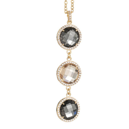 Collana con pendente in cristallo champagne, smoky quartz e zirconi