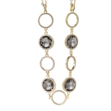 Collana doppio filo con cristalli smoky quartz e zirconi