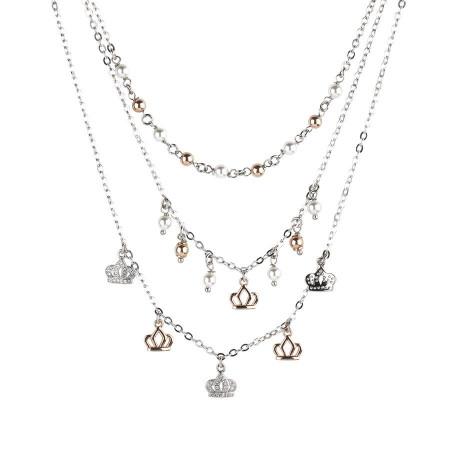 Collana multifilo con zirconi e perle Swarovski