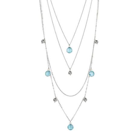 Collana multifilo degradè con cristalli briolette acquamarina