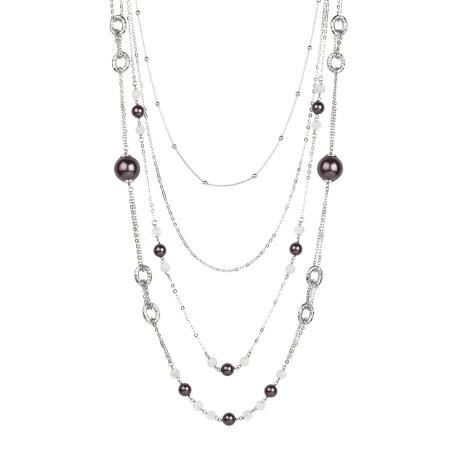 Collana multifilo degradè con perle Swarovski burgundy