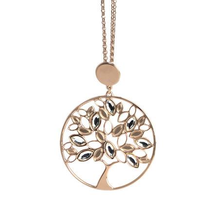 Collana rosata con albero della vita pendente e Swarovski crystal