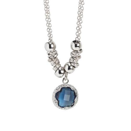 Collana con cristallo sfaccettato blu London