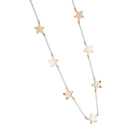 Collana rosata con stelle lucide passanti