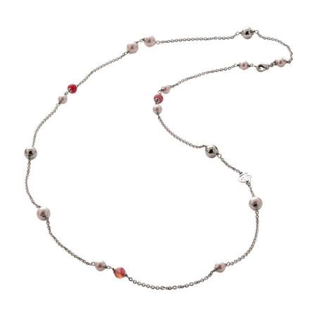 Collana con perle Swarovski rosaline e agata fucsia