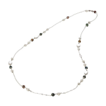 Collana con perle Swarovski white e agata mix matt
