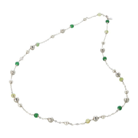 Collana con agata green e mix green, perle Swarovski white e sfere graffiate