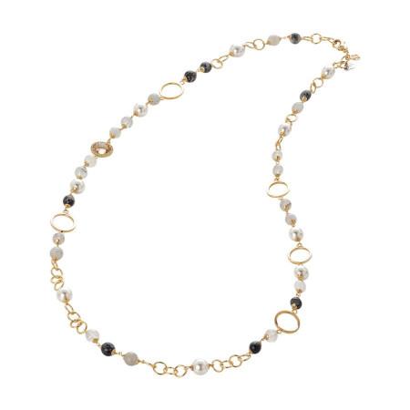 Collana dorata con agata grey, perle Swarovski e zirconi