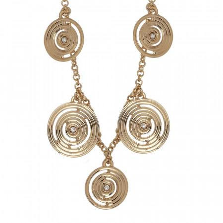 Collana lunga placcata oro giallo con charms concentrici e Swarovski