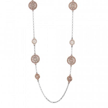Collana lunga placcata oro rosa con decori etruschi e Swarovski
