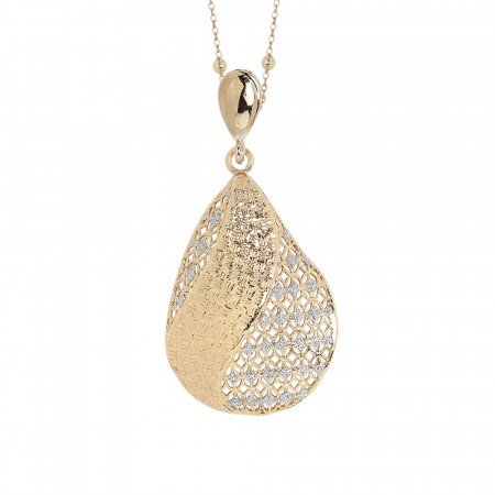 Collana placcata oro giallo con pendente in elettrofusione e glitter silver