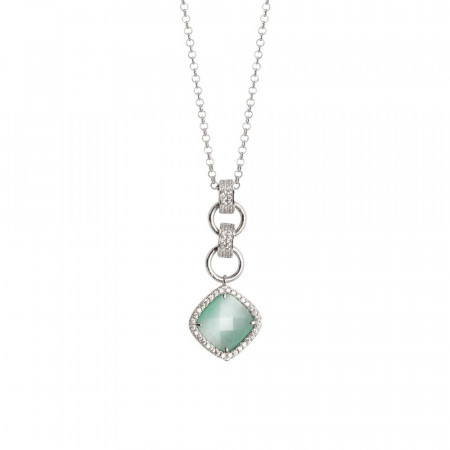 Collana con pendente di cristallo briolette green mint e zirconi