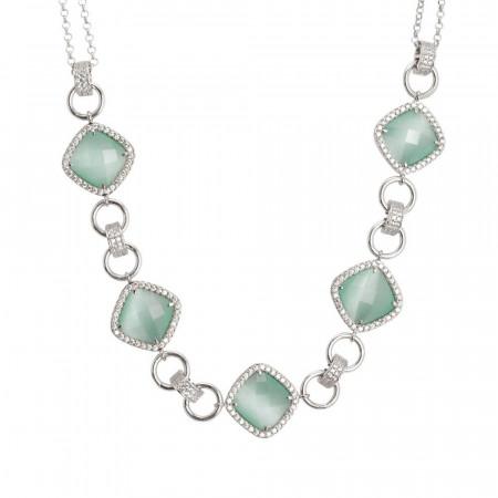 Collana doppio filo con decoro centrale di cristalli green mint e zirconi