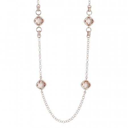 Collana lunga con cristalli briolette peach e zirconi