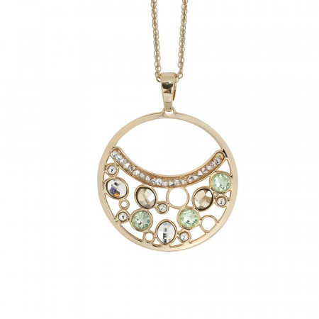 Collana doppio filo con pendente decorato di Swarovski crystal, chrysolite e gold