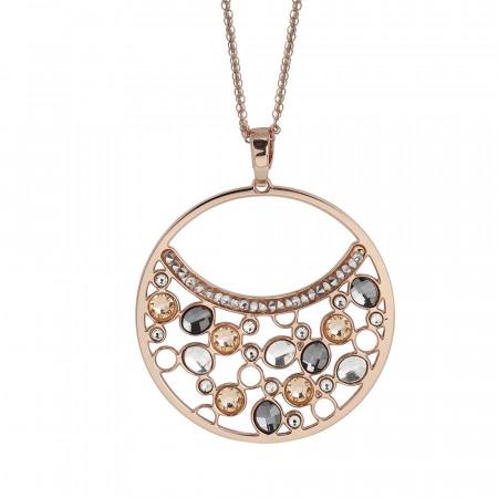 Collana doppio indosso con pendente di Swarovski crystal, peach e silver night