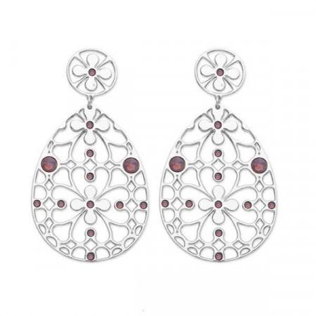 Orecchini in bronzo e cristalli Swarovski ciclamino opale