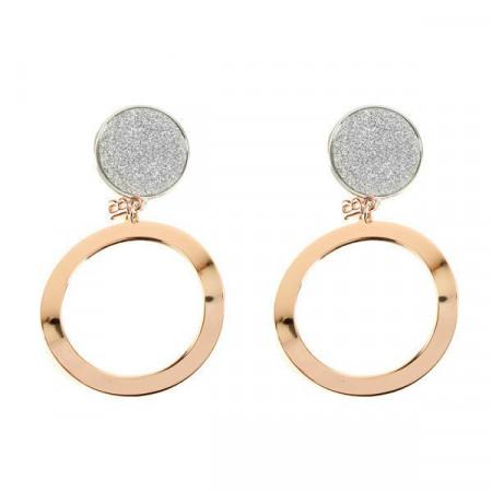 Orecchini pendenti con glitter e cerchio placcato oro rosa