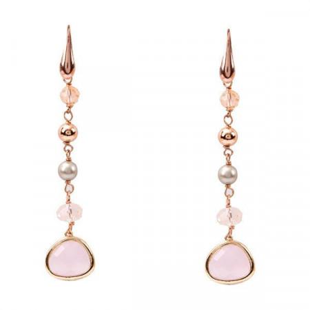 Orecchini placcati oro rosa con cristalli briolette