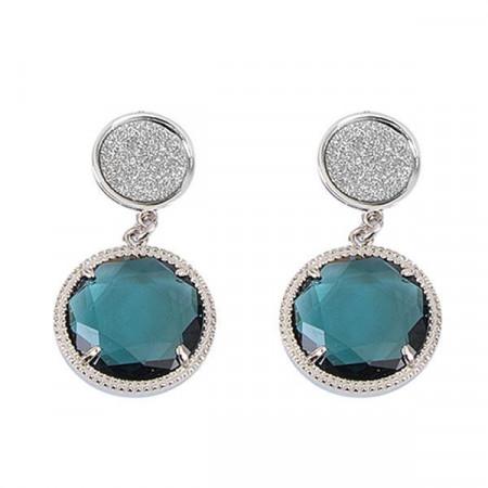 Orecchini pendenti con superfici glitterate e cristallo blu London