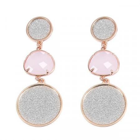 Orecchini pendenti con superfici glitterate e cristallo rosa