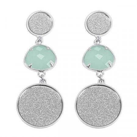 Orecchini pendenti con superfici glitterate e cristallo verde menta