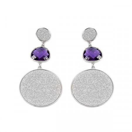 Orecchini pendenti con superfici glitterate e cristallo viola