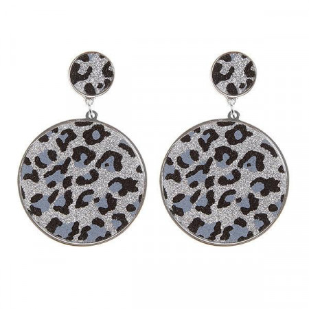 Orecchini circolari con pendente leopardato