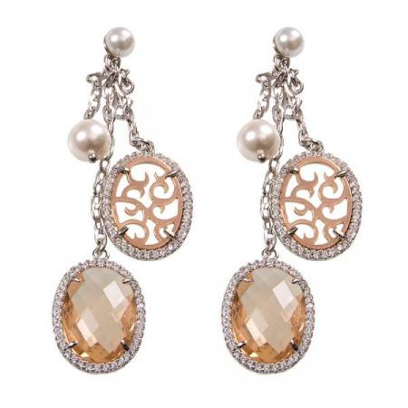 Orecchini pendenti con decoro arabesco, zirconi e perle Swarovski