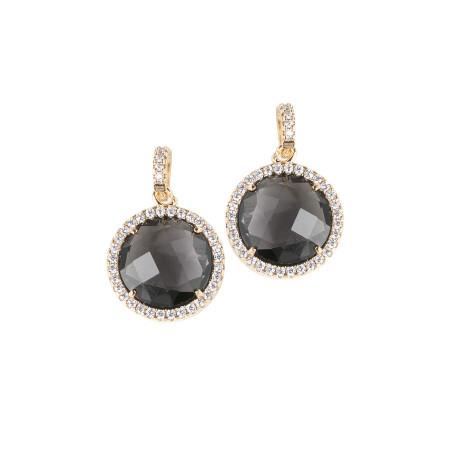 Orecchini pendenti con cristalli smoky quartz e zirconi