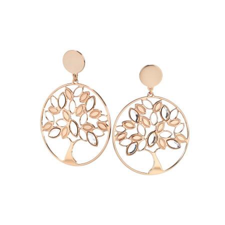 Orecchini rosati con albero della vita e Swarovski crystal