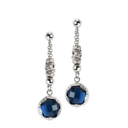 Orecchini pendenti con cristallo sfaccettato blu London