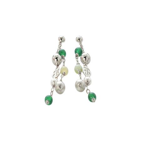 Orecchini con agata green e mix green, perle Swarovski white e sfere graffiate