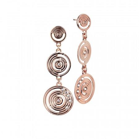 Orecchini pendenti placcati oro rosa dal disegno concentrico e Swarovski