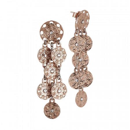 Orecchini placcati oro rosa con pendenti a grappolo dal decoro etrusco e Swarovski