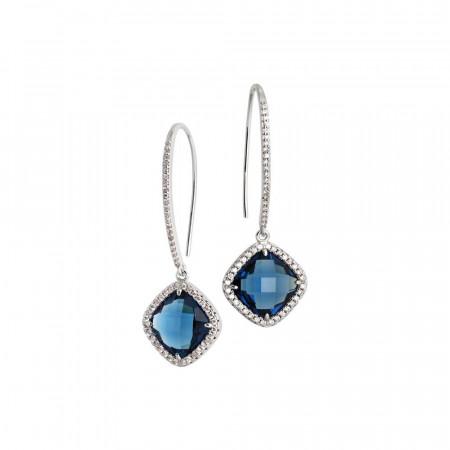 Orecchini con gancio monachella, cristallo blue montana e zirconi