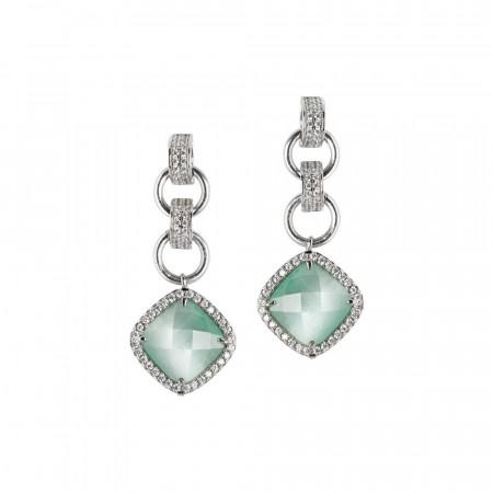 Orecchini con cristallo green mint pendente e zirconi