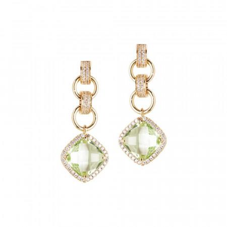Orecchini con cristallo chrysolite pendente e zirconi