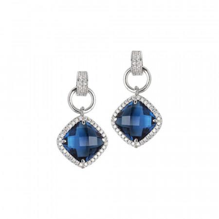 Orecchini pendenti con cristallo blue montana e zirconi