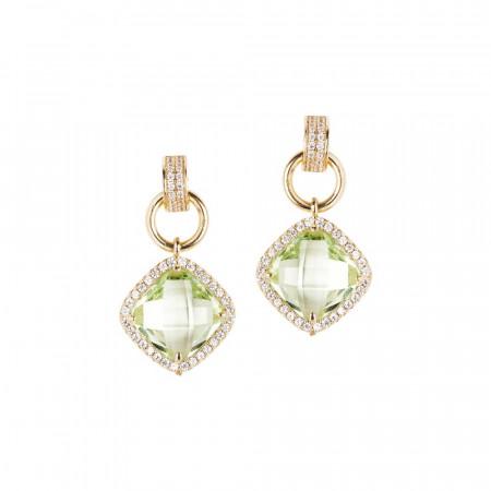Orecchini pendenti con cristallo chrysolite e zirconi