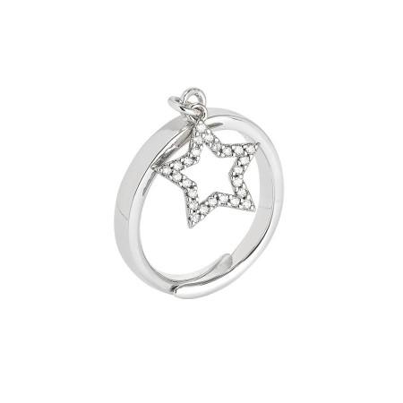 Anello regolabile con ciondolo a stella e zirconi