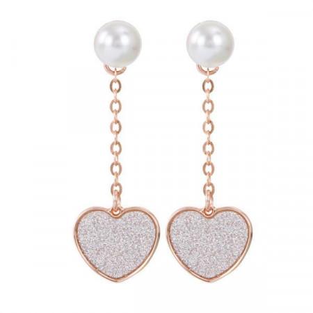 Orecchini intercambiabili con perla Swarovski e pendente a cuore glitterato