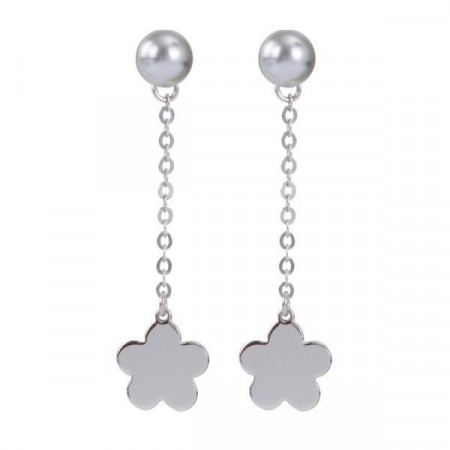 Orecchini intercambiabili con perla Swarovski e pendente a fiore