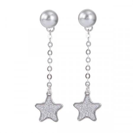 Orecchini intercambiabili con perla Swarovski e pendente a stella glitterata