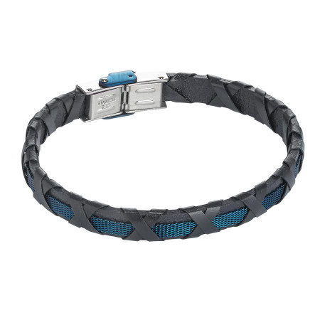 Bracciale di cuoio nero, inserto blu e decoro intrecciato