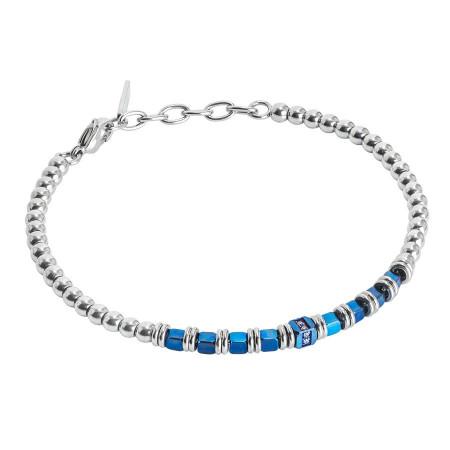 Bracciale beads con ematite blu e zirconi