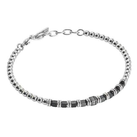 Bracciale beads con ematite nera e zirconi