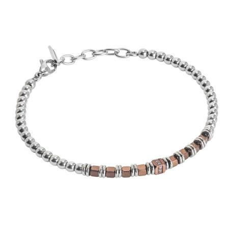 Bracciale beads con ematite rosata e zirconi