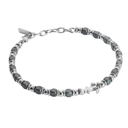 Bracciale beads con ematite nera ed ancora